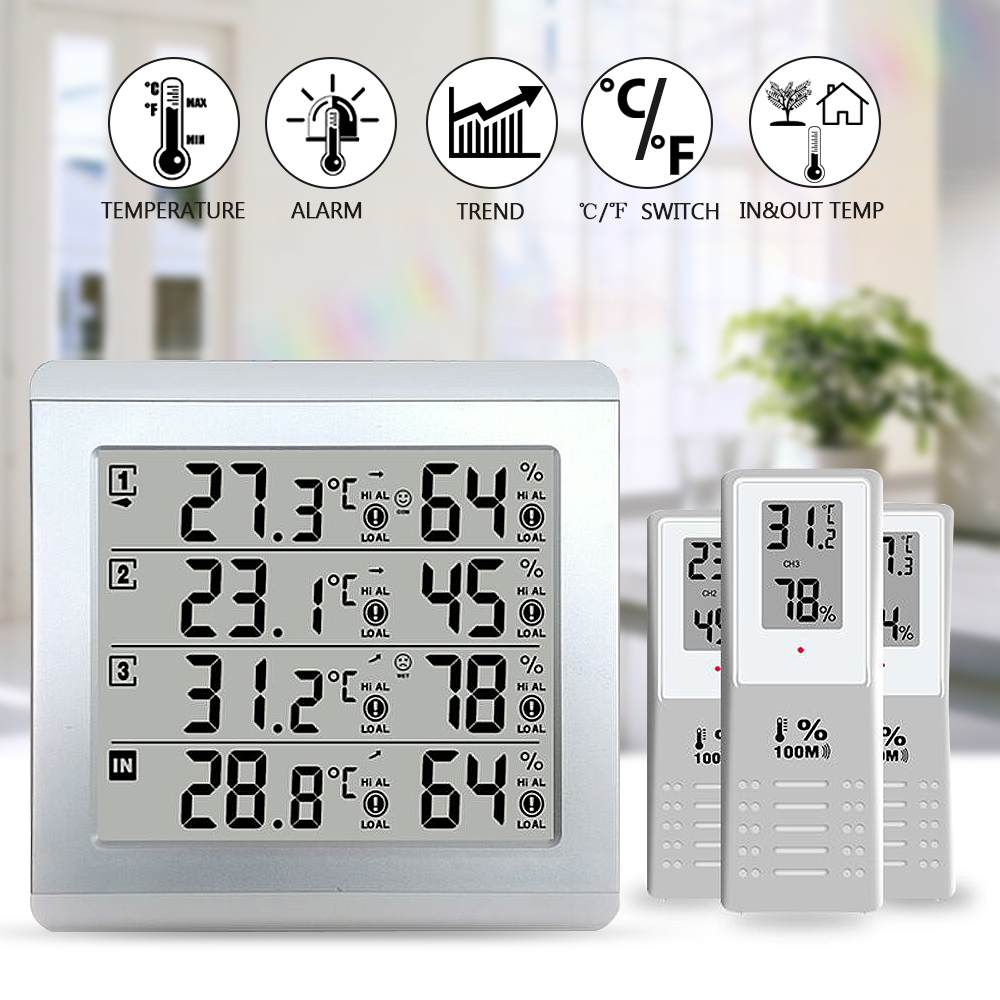 LCD Thermometer Alarm Temperature Meter Weather Station tester + 3 Wireless Outdoor Transmitter Humidity Sensor Monitor Alert