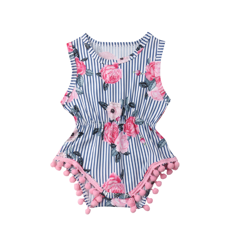 Floral Newborn Infant Baby Girl Sleeveless Tassel Ball Striped   Romper   Jumpsuit Outfit Sunsuit