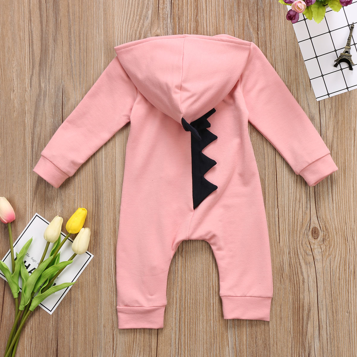 0 24M Baby Boy Girl Hooded Romper Spring Fall Dinosaur Romper in Rompers from Mother Kids
