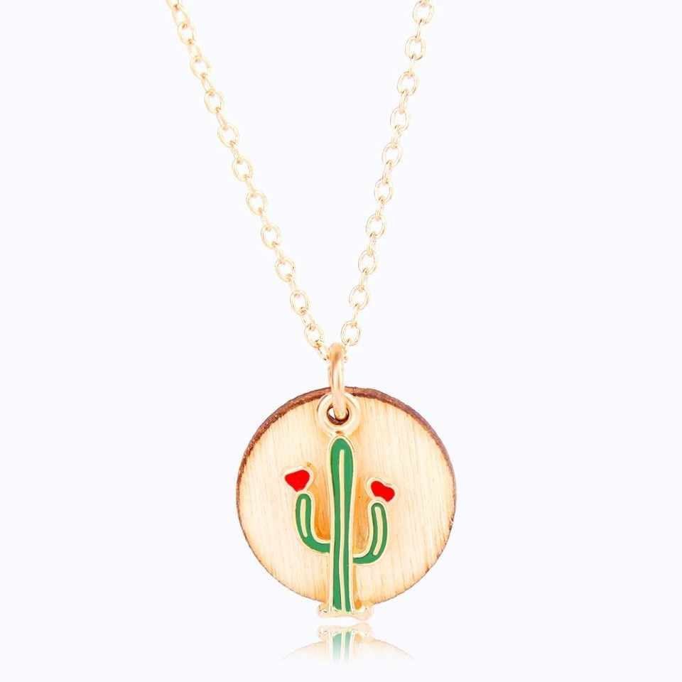 Retro Style Fashion Cactus Flower Plant Pendant Necklace Hollow Wooden Flower Coconut Tree Fashion Jewelry Female Gold Necklace