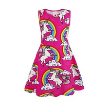 AmzBarley Girls Unicorn Dress Sleeveless Printed Baby Girl Cartoon Costume Autumn Children Birthday up Party Clothes
