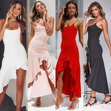 Try Everything White Long Dress Women Party Sexy Summer Dresses Ladies Spagetti Strap 2019 Cotton Ruffle