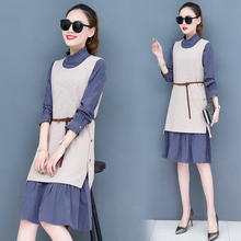 Dress is han edition of the new womens spring long over-the-knee brim render knitting two skirt suit