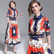 women dress runway long sleeve party 2019 vintage print european style female vestidos