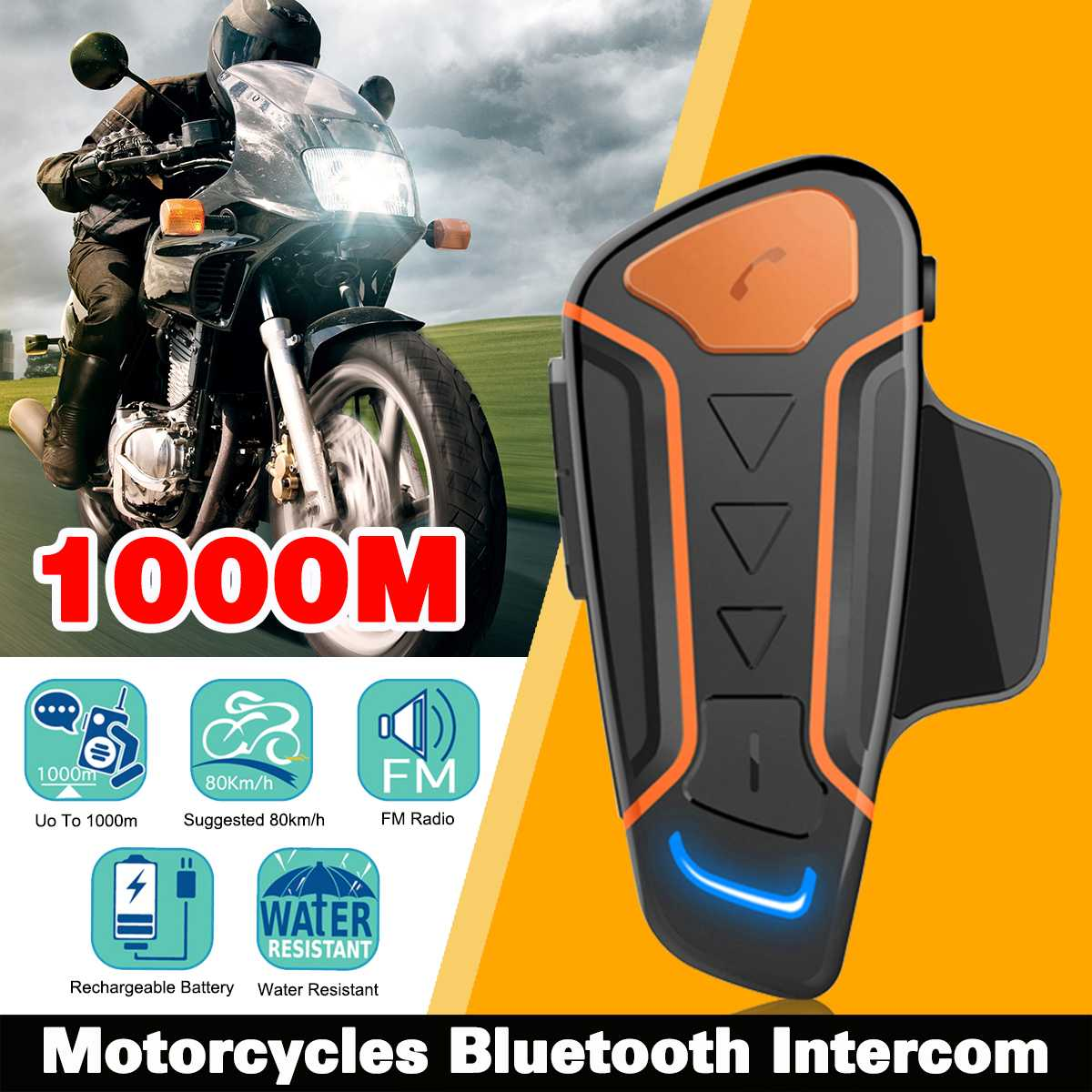 IP67 étanche 100% casque de Moto Interphone WT003 1000 m Moto Bluetooth Interphone casque avec Radio FM