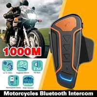 IP67 Waterproof 100% Motorcycle Helmet Intercom WT003 1000m Moto Bluetooth Interphone Headset With FM Radio