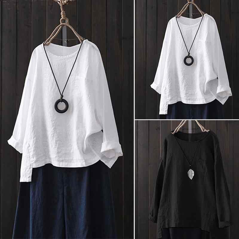 2019 tallas grandes ZANZEA primavera mujer Casaul O cuello camisetas de manga larga Tops Vintage sólido algodón Lino fiesta blusa suelta mujer