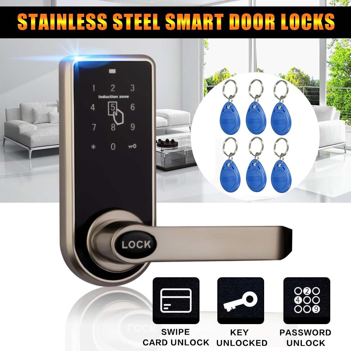 Smart Electronic Door Lock 3 in1 Password Mechanical ID Card Digital Door Lock Home Security & Protection + 6x ID Card