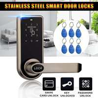Smart Electronic Door Lock 3 in1 Password Mechanical ID Card Digital Door Lock Home Security & Protection + 6x ID Card