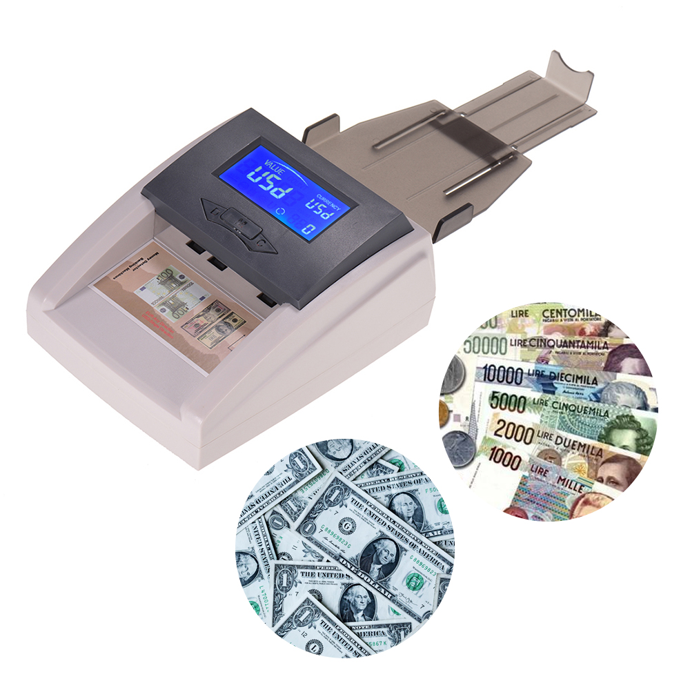 Portable Desktop Countable Automatic Money Detector Counterfeit Cash Currency Banknote Checker with LCD Display for EURO