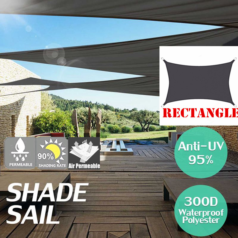 Black 3x4 3x5 3x6 Black 300D 160GSM Waterproof Polyester Oxford Fabric Shade Sail Rectangle