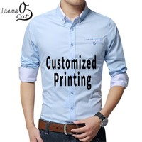 Lanmaocat Formal Shirts For Men Custom Design Logo Mens Shirts Casual Slim Fit With Long Sleeves Male Dress Shirts Free Shipping