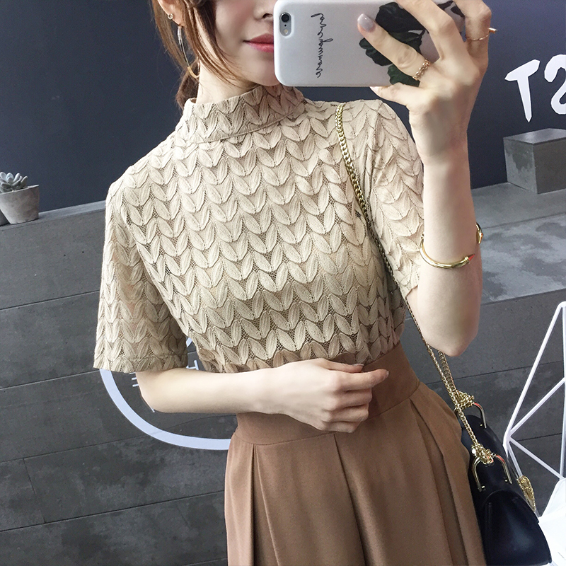 Leaves Lace   Blouses   Women Turtleneck Short Sleeve Hollow Out Thin   Blouse     Shirt   Girls tops For Female