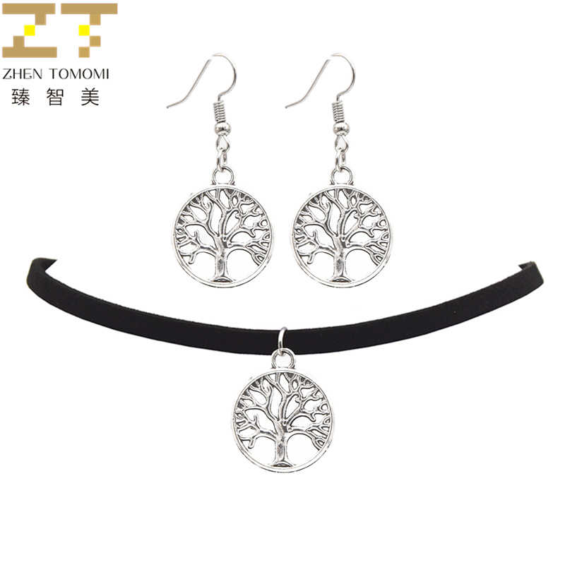 2018 Fashion Black Velvet Leather Bijoux Vintage Retro Tree of Life Pendants Choker Necklace/Drop Earrings Women Jewelry Sets