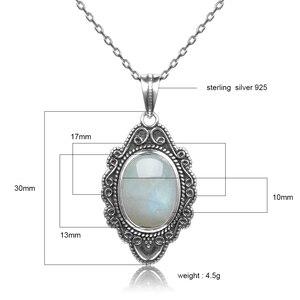 Image 5 - Высокое качество, чистое серебро, винтажный Овальный Радужный Лунный Камень, подвески, ожерелья, Женские Ювелирные Украшения ручной работы, подарки, оптовая продажа
