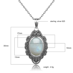 Image 5 - Qualidade superior prata esterlina pura do vintage oval arco íris moonstone pingentes colares artesanal jóias finas presentes atacado