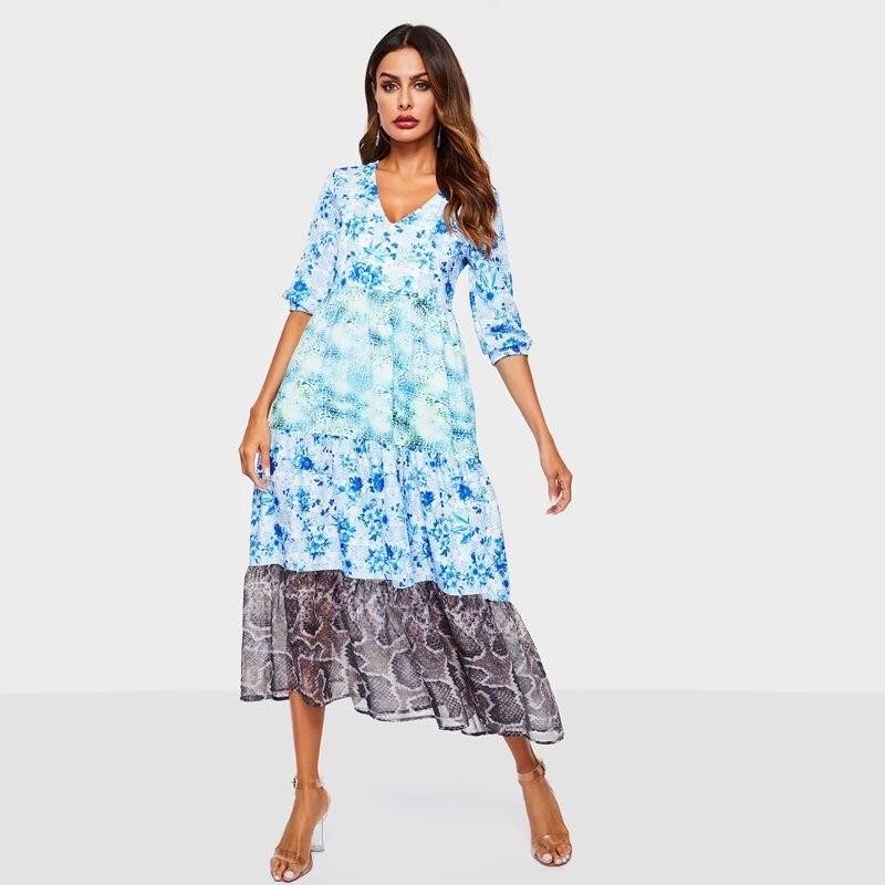 1ebf509353 Imprimé Lady Femmes Office Soie Robes D'été Décontractée De Voyage Féminine  Mode Partie Élégante Bleu Plage Mousseline La Tenue ...