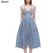 Xnxee  Dress 2019 Summer Women Hollow Out Flower Lace Spaghetti Strap Sexy Ladies Sleeveless V Neck Party