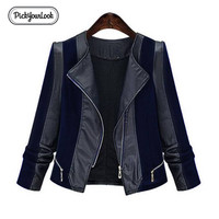 Pickyourlook Pu Leather Women Coat Jacket Plus Size Patchwork Motorcycle Overcoat For Female Fashion Zipper Large Lady Outerwear