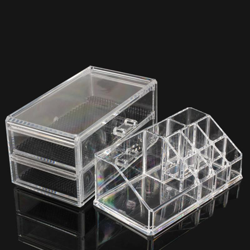 Купить с кэшбэком Portable Transparent Makeup Organizer Storage Box Acrylic Makeup Display Organizer Holder Drawers Box for Makeup Storage Case