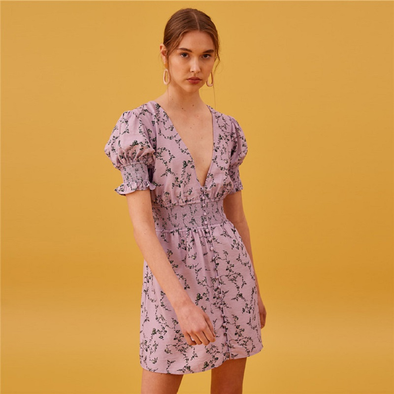 2019 été Sexy col en V fleur femmes violet Mini robe piste à manches courtes tunique femme fête vacances robes vêtements