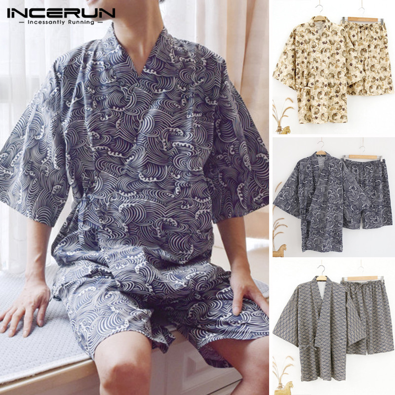 INCERUN Men Pajamas Sets Print Kimono Suit Soft Homewear Short Sleeve Tops & Shorts Japanese Style Men Sleepwear Sets Plus Size
