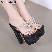 GBHHYNLH sandalia transparente rhinestone sandals Open Toe high heels women slippers Crystal shoes studded sandals LJA670 цена в Москве и Питере