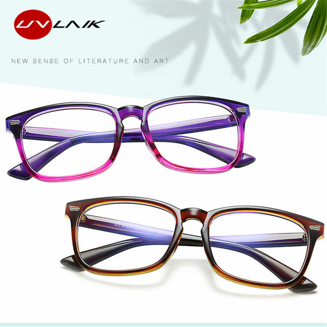 UVLAIK Blue Light Glasses for Men and Women | Computer Glasses | Gaming Goggles | Transparent Eyewear | Frame Anti Blue ray Eyeglasses