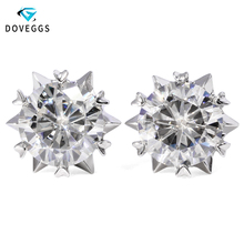 DovEggs 14K White Gold 2ctw 6.5mm F Colorless Lab Created Moissanite Diamond Stud Earrings For Women Gold Earrings Push Back