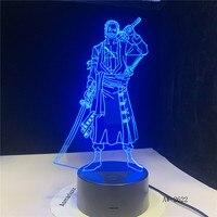 3D Led creativo USB iluminación decorativa Anime una sola pieza botón táctil lámpara de escritorio para iluminación de dormitorio luces nocturnas AW-2622