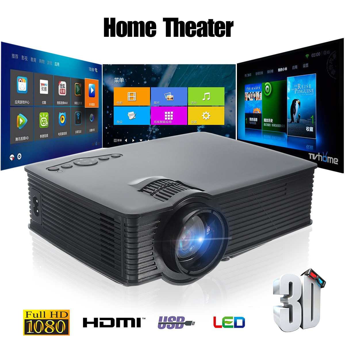 Portable 3000 Lumens HD 1080P 3D Multimedia Projector LED Home Theater HDMI USB Home Theatre System