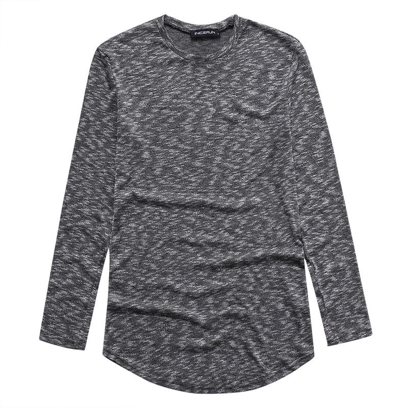 Men's Full Long Sleeve Pullover T Shirt Casual Slim Fit Male Tee Tops Dye Rib Knit Asymmetrical Hem Men Autumn INCERUN 2018