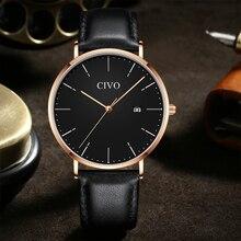 цена на CIVO Fashion Business Men Watch Top Brand Luxury Analog Quartz Clock Man Ultra-thin Waterproof Leather Watch Relogios Masculino