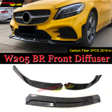 лучшая цена For Benz W205 LCI Front Lip Diffusor 3-pcs Carbon For Brabus-style Front Lip Diffusor Bumper bar Splitter C180 C200 C250 2019-in