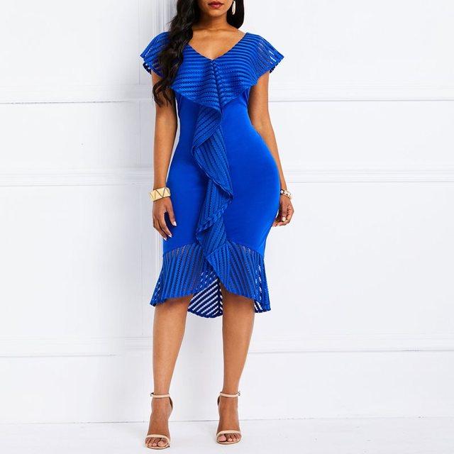 Women Dresses 2019 Summer Elegant Party Evening Asymmetric Ruffles Mermaid Patchwork V Neck Female Bodycon Midi Dress 727147