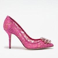 Elegant Lace High Heels Rose Red White Bridal Shoes Wedding Pumps Crystal Embellished Formal Dress Shoes Women