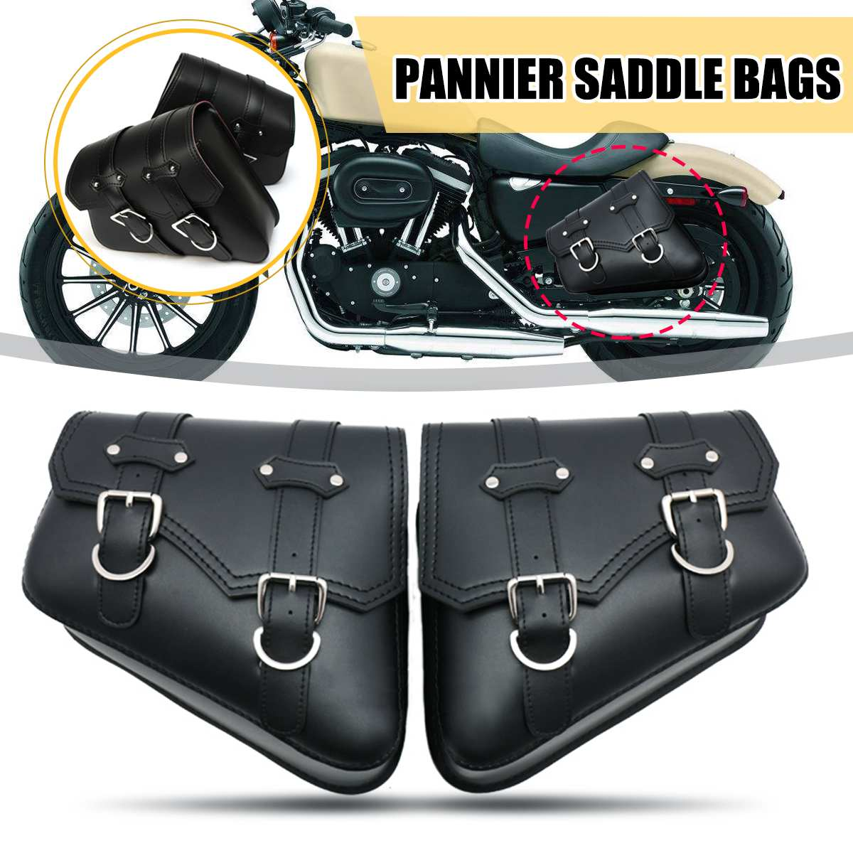 1 Pair Black Motorcycle Saddlebags Throw Under Seat Side Tools Bag Pouch For Harley Davidson  Cruiser Motorbike