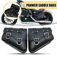 1 Pair Black Motorcycle Saddlebags Throw Under Seat Side Tools Bag Pouch for Harley Davidson  Cruiser Motorbike