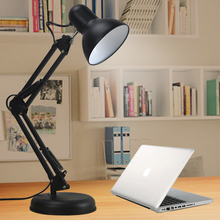 Modern Long Arm Led Lamp Desk Iron Ac85-220v E27 Base Folding Clamp Table Light Read Study Lighting 5w Bulb Included