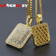 HIP HOP men's NECKLACE blingbling inlaid rhinestone pendant trend full Rhinestone Military tag necklace rock man jewelry