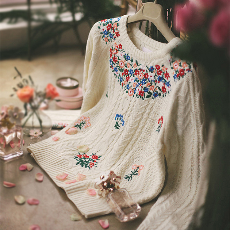 Women s Prairie Chic Embroidered Floral Mori Girl Pullovers Winter Knitted Sweater BEIGE