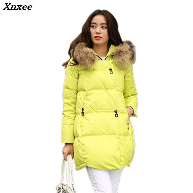 Winter women coat jacket hooded casual loose long sleeve fur collar   parkas   female warm outerwear with pockets plus size Xnxee