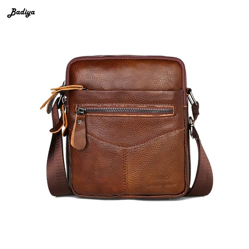 Solid Black Leather Male Crossbody Zipper Men's Messenger Bag Soft Genuine Cow Leather Shoulder Bag Cheap Price
