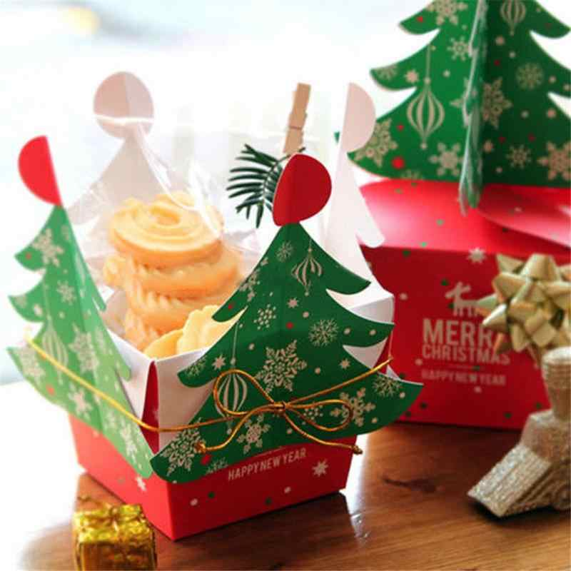 Christmas Tree Gift Box Cookies Candy Packaging Box Bells Golden Cord Decoration Diy Christmas Candy Bag 3d Xmas Tree Boxes