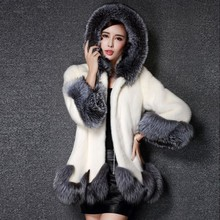Fashion Winter New Faux Fur Coat Women Warm Parka Hooded Fox Fur Jacket 2018 New Casual Faux Fur Coat Female Manteau Femme Ls226 zip up camo faux fur hooded coat