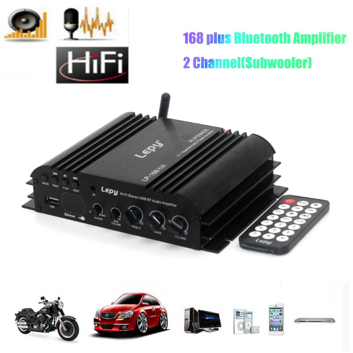 bluetooth Usb Mini Digital Amplifier Hifi 2ch Subwoofer Amp For Car Home Speaker