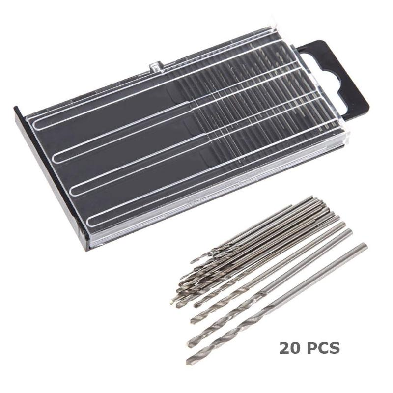 20x MICROBOX Tiny Micro HSS Twist Drill Bit Set 0.3mm-1.6mm Model Craft W/