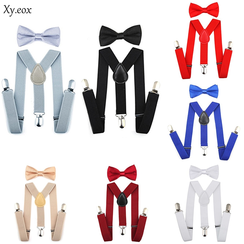 Boys Girls Kids Suspender & Bow Tie Matching Set Tuxedo Wedding Shirt Suit Party