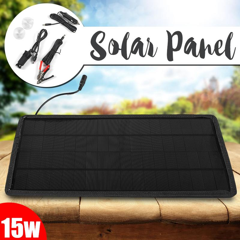 15W 12V/5V Solar Panel 2 Output Portable Power Bank Charger External Battery Charging Solar Cell Board DIY Clips Outdoor Travel15W 12V/5V Solar Panel 2 Output Portable Power Bank Charger External Battery Charging Solar Cell Board DIY Clips Outdoor Travel