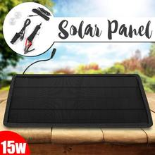 15W 12V/5V Solar Panel 2 Output Portable Power Bank Charger External Battery Charging Solar Cell Board DIY Clips Outdoor Travel